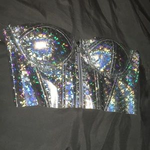 Strapless bustier/crop top holographic silver
